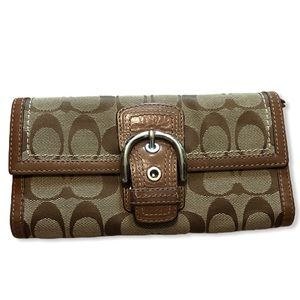COACH Tan and Brown Long Wallet
